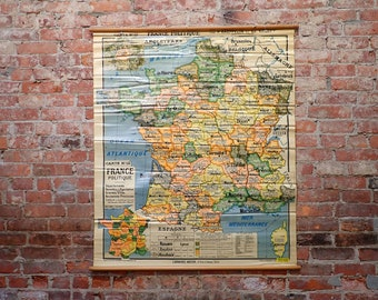 French vintage wall map, Post war France map, France Politque map, 1946 French wall map, Dufrenoy map, School map, Original France map