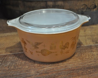 Vintage Pyrex Early American 473 1 Quart Casserole Dish with Lid
