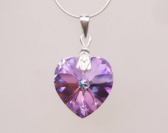 Light Vitrail Swarovski Crystal Heart Necklace, Sterling Silver, purple Mothers Day gift