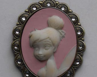 Disney Tinker Bell Cameo Pendant Necklace / Month of April Pixie Fairy