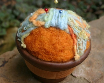 Pincushion Wool Wood Bowl Handcarved Needlefelted
