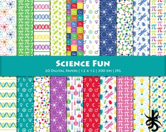 Digital Scrapbook Papers-Science Fun-Scientific-Science Background-Periodic Table-Bugs-Atoms-Astronomy-Chemistry-Instant Download Clip Art