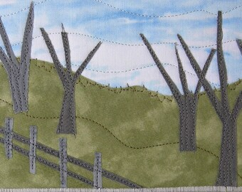 Quilted Postcard  Textile Greeting Card Landscape Mountain Landscape Fiber Wall Nature Postcard Fabric Hills Trees Fence