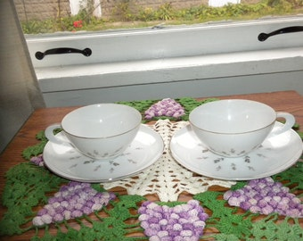Vintage Petite Bouquet Japan cups and saucers Fine china