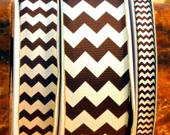 """2 Yards 3/8"""", 7/8"""" or 1.5"""" Brown Chevron Print Grosgrain Ribbon - US Designer"""