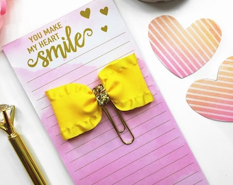 Yellow and Gold Planner Clip / Planner Paper Clip / Yellow Planner Bow Clip