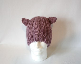 Animal Ear Bulky Cable Hat knitting PATTERN - warm bulky knit cabled cable ribbed brim stocking hat toque -permission to sell finished items