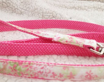 Pretty Pink and Green Spring Floral Dog Leash