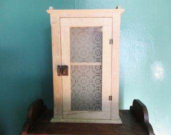 Vintage Cabinet - Shabby Painted Cabinet - Two Shelves - Hang on a Wall - Free-standing - Left to Right Opening - Frosted Glass Window Front