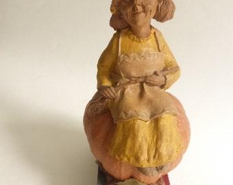 Vintage Cairn Studio Tom Clark Wood Spirit Gnome  Erma with her Pumpkin Mobile
