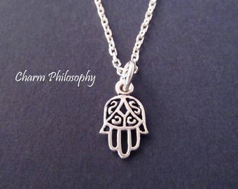 Hamsa Necklace - Tiny Hamsa Hand Charm - 925 Sterling Silver Jewelry