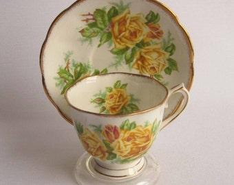 Royal Albert  TEA ROSE Yellow - Countess Shape Bone China Tea Cup and Saucer - Made in England