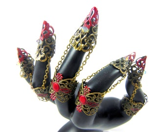 Claw armor bronze blood vampire set of 5 rings