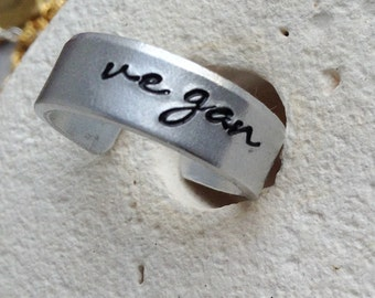 Vegan cuff ring - vegan jewellery - vegan jewelry - unisex vegan - for her - handstamped ring -  small medium and large.