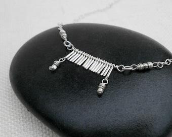 Delicate Silver Bar Fringe Pendant Simple Silver Chain Necklace Silver Geometric Charm Pendant