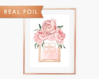 Fashion Wall Art Chanel Perfume Bottle, Blush,  Pink,  Peonies, Real Foil, Watercolor,Gift for, Fashion, Perfume Art, Fashion Poster, Coco