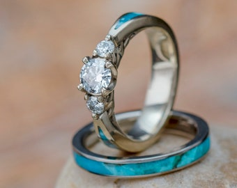 Turquoise Bridal Ring Set, Moissanite Engagement Ring in 10k White Gold With Turquoise Wedding Band in Titanium