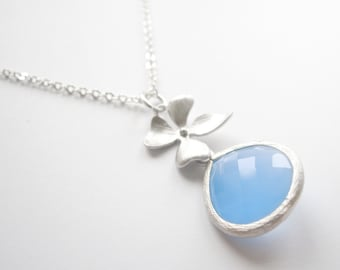 Pastel Light Blue Silver Framed Glass Flower Necklace