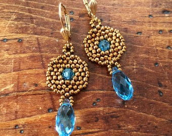 Beaded bronze and blue crystal earrings, bronze and blue earrings, blue Swarovski earrings, light blue earrings, elegant aquamarine earrings
