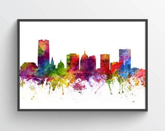 Oklahoma City Skyline Poster, Oklahoma City Art, Oklahoma City Print, Oklahoma City Decor, Home Decor, Gift Idea, USOKTU06P