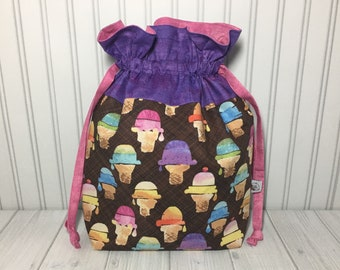 Large Drawstring Knitting Crochet Project Bag - We All Scream For Ice Cream