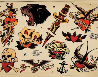 Sailor Jerry Temporary Tattoos Traditional Temporary Tattoos Fake Tattoos Retro Tattoos Vintage Tattoos Old School Tattoos