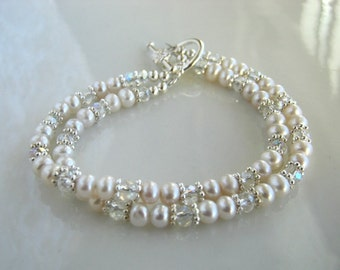 Two Strand Dainty White Freshwater Pearl Bracelet White Pearl Bridal Bracelet Bridal Jewelry