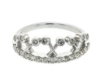 0.48 CTW Crown Shaped Diamond Ring in 14K White Gold
