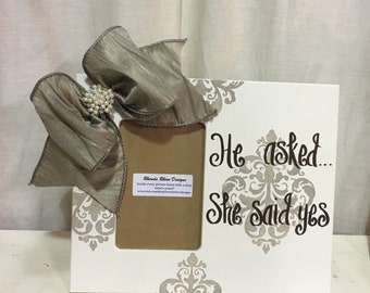He Asked She Said Yes Ivory 4x6 Offset Frame with Taupe Damask Designs and Pearl Jeweled Bow
