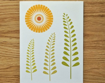 Sun and Ferns Greeting Card