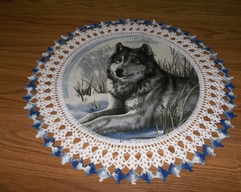 Crocheted Wolf Doily, Blue Crochet Doily, Lace Wolf Doily, Table Topper, Centerpiece, Tablecloth, Handmade, Hostess Gift