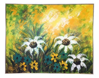 Large Mid-Century Hollywood Regency Floral Painting by Lee Reynolds