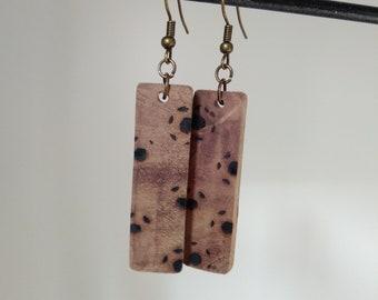 Woodburned Walnut Earrings BohoStyle