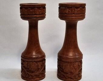 Vintage Midcentury Boho Pair of Teak Wood Candleholders, Handcarved
