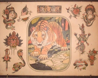 "Vintage Tattoo Flash- ""Tiger"" by Milton Zeis"