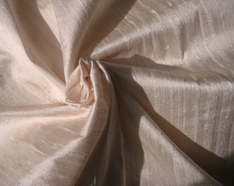 "Ivory Light Pale Pink Bridal 100% dupioni silk fabric yardage By the Yard 45"" wide"