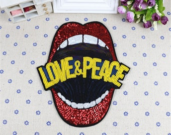 Large lip mouth sequins patch vintage embroidered appliue