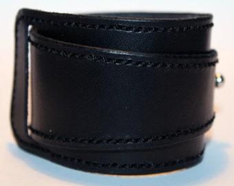 Black Leather Cuff! Brown Bracelet! Great Gift!Black Cuff! Very Nice Bracelet! Unique Handmade Gift!