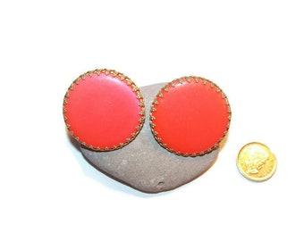 Vintage orange round clip earrings, runway earrings, large earrings, orange, clip on earrings, bold earrings