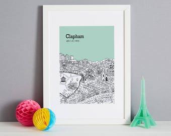 Personalised Clapham Print   Unique Travel Art   Wedding Gift   Custom Anniversary Gift   Travel Gift   Wall Art   Clapham Engagement Gift