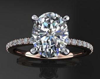shay ring - 2 carat oval ZAYA moissanite engagement ring, oval moissanite