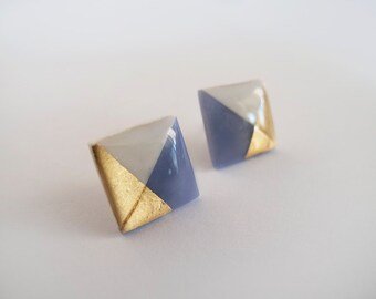 White and Blue Gray with 23k Gold  Square Stud Earrings - Surgical Steel Posts