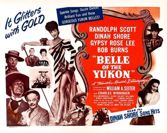 """Lobby Card From the Film """"Belle of the Yukon"""" Starring Randolph Scott and Gypsy Rose Lee (Reproduction) - 8X10 or 11X14 Photo (MP-007)"""