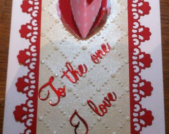Valentine's day, red and cream card