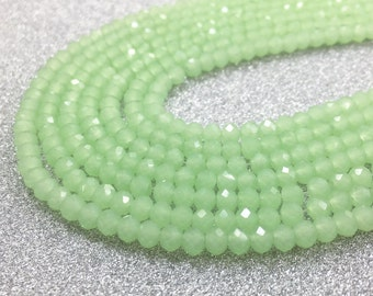 1full strand 4mm faceted crystal beads , green glass bead for crystal bracelet crystal jewelry