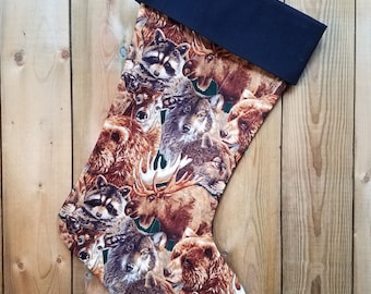 Wildlife Quilted Christmas Stocking