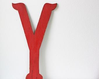 Vintage Large Red Wooden Letter Y