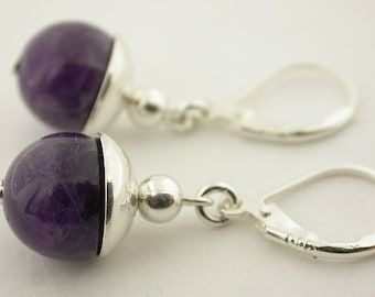 Genuine Amethyst  Lever Back Sterling Silver Earrings 08