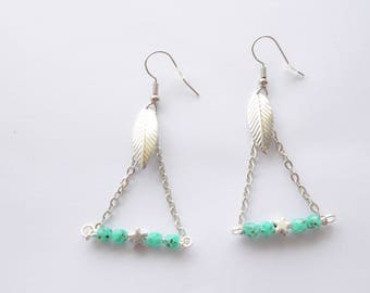 Silver triangles earrings, turquoise beads and charms