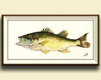 PRINT-Black bass fish game fishing print from original watercolor painting - Art Print by Juan Bosco
